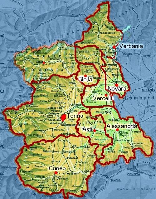 Piemont Weinbau Karte.04150 Piemont Einfuehrung